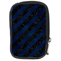 Stripes3 Black Marble & Blue Grunge Compact Camera Leather Case by trendistuff