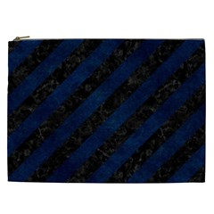 Stripes3 Black Marble & Blue Grunge Cosmetic Bag (xxl) by trendistuff