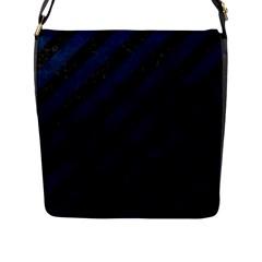 Stripes3 Black Marble & Blue Grunge Flap Closure Messenger Bag (l) by trendistuff