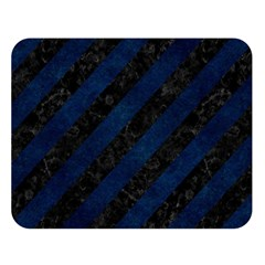 Stripes3 Black Marble & Blue Grunge Double Sided Flano Blanket (large) by trendistuff
