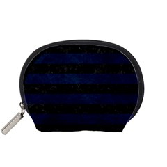 Stripes2 Black Marble & Blue Grunge Accessory Pouch (small) by trendistuff