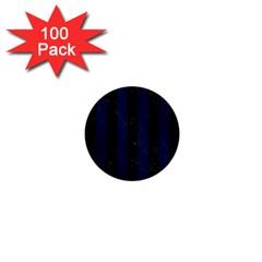 Stripes1 Black Marble & Blue Grunge 1  Mini Button (100 Pack)  by trendistuff