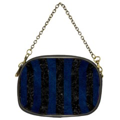 Stripes1 Black Marble & Blue Grunge Chain Purse (two Sides) by trendistuff