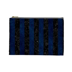 Stripes1 Black Marble & Blue Grunge Cosmetic Bag (large) by trendistuff