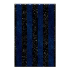 Stripes1 Black Marble & Blue Grunge Shower Curtain 48  X 72  (small) by trendistuff