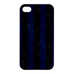Stripes1 Black Marble & Blue Grunge Apple Iphone 4/4s Premium Hardshell Case by trendistuff