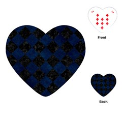 Square2 Black Marble & Blue Grunge Playing Cards (heart) by trendistuff