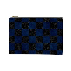 Square1 Black Marble & Blue Grunge Cosmetic Bag (large) by trendistuff