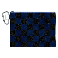 Square1 Black Marble & Blue Grunge Canvas Cosmetic Bag (xxl) by trendistuff