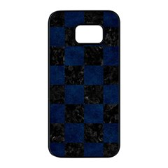 Square1 Black Marble & Blue Grunge Samsung Galaxy S7 Edge Black Seamless Case by trendistuff