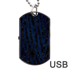 Skin4 Black Marble & Blue Grunge (r) Dog Tag Usb Flash (one Side) by trendistuff