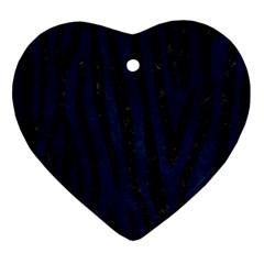 Skin4 Black Marble & Blue Grunge Heart Ornament (two Sides) by trendistuff