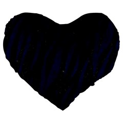 Skin3 Black Marble & Blue Grunge Large 19  Premium Flano Heart Shape Cushion by trendistuff