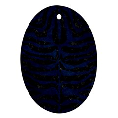 Skin2 Black Marble & Blue Grunge Oval Ornament (two Sides) by trendistuff
