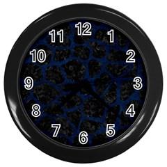 Skin1 Black Marble & Blue Grunge (r) Wall Clock (black) by trendistuff