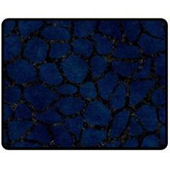 Skin1 Black Marble & Blue Grunge Double Sided Fleece Blanket (medium) by trendistuff