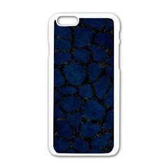 Skin1 Black Marble & Blue Grunge Apple Iphone 6/6s White Enamel Case by trendistuff