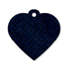 Scales3 Black Marble & Blue Grunge (r) Dog Tag Heart (one Side) by trendistuff