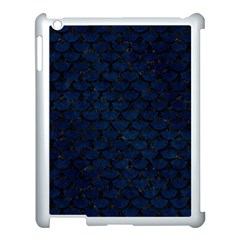 Scales3 Black Marble & Blue Grunge (r) Apple Ipad 3/4 Case (white) by trendistuff