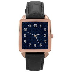 Scales3 Black Marble & Blue Grunge (r) Rose Gold Leather Watch  by trendistuff