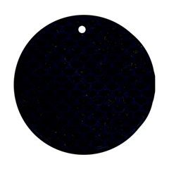 Scales3 Black Marble & Blue Grunge Ornament (round) by trendistuff
