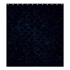 Scales3 Black Marble & Blue Grunge Shower Curtain 66  X 72  (large) by trendistuff