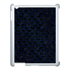 Scales3 Black Marble & Blue Grunge Apple Ipad 3/4 Case (white) by trendistuff