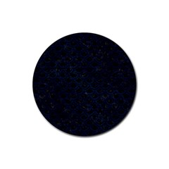 Scales2 Black Marble & Blue Grunge Rubber Round Coaster (4 Pack) by trendistuff