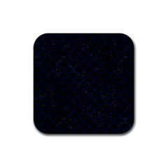 Scales1 Black Marble & Blue Grunge Rubber Square Coaster (4 Pack) by trendistuff