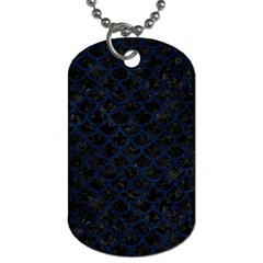 Scales1 Black Marble & Blue Grunge Dog Tag (one Side) by trendistuff