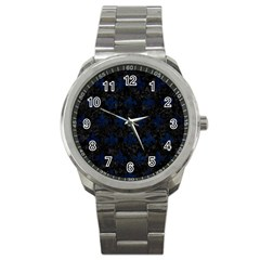 Royal1 Black Marble & Blue Grunge (r) Sport Metal Watch by trendistuff