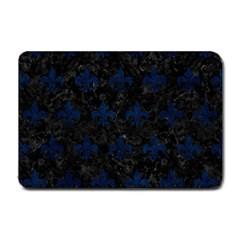 Royal1 Black Marble & Blue Grunge (r) Small Doormat by trendistuff