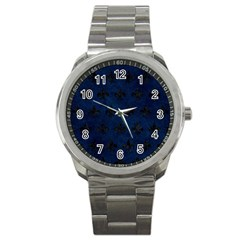 Royal1 Black Marble & Blue Grunge Sport Metal Watch by trendistuff