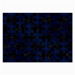Puzzle1 Black Marble & Blue Grunge Large Glasses Cloth (2 Sides) by trendistuff
