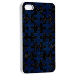 Puzzle1 Black Marble & Blue Grunge Apple Iphone 4/4s Seamless Case (white) by trendistuff