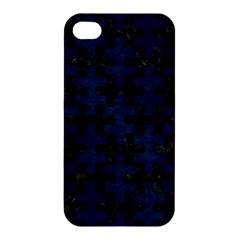 Puzzle1 Black Marble & Blue Grunge Apple Iphone 4/4s Premium Hardshell Case by trendistuff