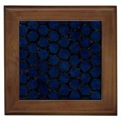 Hexagon2 Black Marble & Blue Grunge (r) Framed Tile by trendistuff