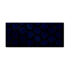 Hexagon2 Black Marble & Blue Grunge (r) Hand Towel by trendistuff