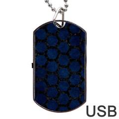 Hexagon2 Black Marble & Blue Grunge (r) Dog Tag Usb Flash (one Side) by trendistuff