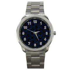 Hexagon2 Black Marble & Blue Grunge Sport Metal Watch by trendistuff