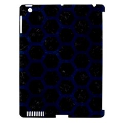Hexagon2 Black Marble & Blue Grunge Apple Ipad 3/4 Hardshell Case (compatible With Smart Cover) by trendistuff