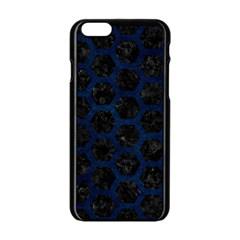 Hexagon2 Black Marble & Blue Grunge Apple Iphone 6/6s Black Enamel Case by trendistuff