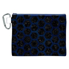 Hexagon2 Black Marble & Blue Grunge Canvas Cosmetic Bag (xxl) by trendistuff