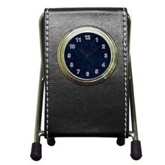 Hexagon1 Black Marble & Blue Grunge (r) Pen Holder Desk Clock by trendistuff
