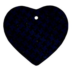 Houndstooth2 Black Marble & Blue Grunge Heart Ornament (two Sides) by trendistuff