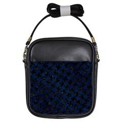 Houndstooth2 Black Marble & Blue Grunge Girls Sling Bag by trendistuff