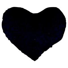 Damask2 Black Marble & Blue Grunge (r) Large 19  Premium Flano Heart Shape Cushion by trendistuff