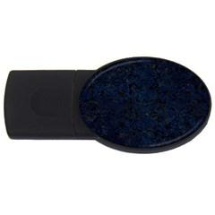 Damask2 Black Marble & Blue Grunge Usb Flash Drive Oval (2 Gb) by trendistuff