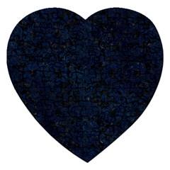 Damask2 Black Marble & Blue Grunge Jigsaw Puzzle (heart) by trendistuff
