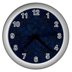 Damask1 Black Marble & Blue Grunge (r) Wall Clock (silver) by trendistuff